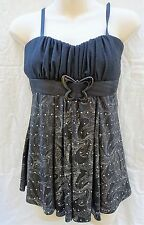 GORGEOUS BLACK & SILVER BUTTERFLY SPARKLY BABYDOLL A LINE TOP SZ S SMALL 8 10