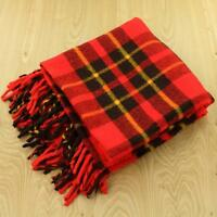 "FARIBO usa made fluff-loomed wool blanket throw 52"" x 54""  red plaid stadium"