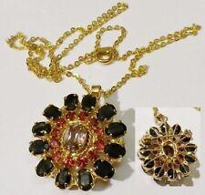 Bijou Vintage pendentif chaine broche rodhier couleur or zircon taillé * 4757