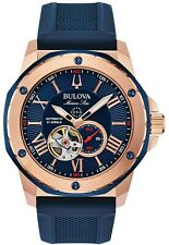 New Bulova Men's Automatic Marine Star Blue Silicone Strap Watch 45mm 98A227