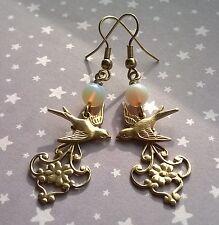 Vintage Nouveau Style Swallow Bird Filigree Opalite Drop Earrings Gold Brass