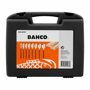 """Bahco 8Pc Flat Spade Speed Wood Bit Drill Set in a Case 12-32mm 1/4"""" Hex Drive"""