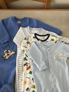 Baby Boy Blue Fleece All In One And 3 Sleepsuits age 6-9 months (a3)