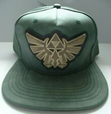 The Legend Of Zelda Metal Logo Faux Green Leather PU Snap Back Hat Nwt