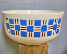 Set of 5 Vintage Mixing Bowls Nested Blue & Burgundy Block Design