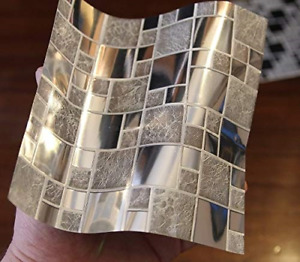 24pc Silver Chrome Tile Stickers Mosaic Style Tile Stickers Transfers Cover for