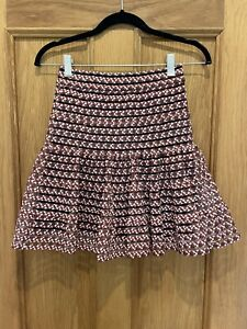 Gorgeous Womens Maje Red Floral Print Scuba Stretch Skirt Size 36