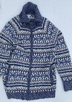 VTG LL BEAN Womens Cardigan SWEATER Full Zip FAIR ISLE Long Sleeve Size L Large