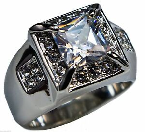 White Sapphire simulated 20 cz ring Platinum overlay size 12