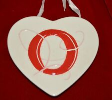 MWW Market White & Red HEART initial O Ceramic Heart  Christmas Ornament 4.5""