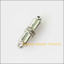 2Sets Dull Silver Plated Cylindrical Strong Magnetic Clasps Connectors 5x16.5mm