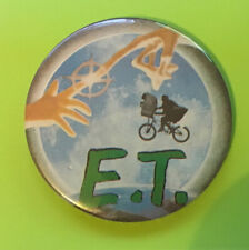 More details for 1980s e.t round badge extra terrestrial pin finger touch moon flying bike