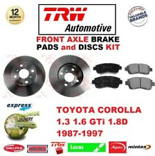 FOR TOYOTA COROLLA 1.3 1.6 GTi 1.8D 1987-1997 FRONT AXLE BRAKE PADS + DISCS KIT