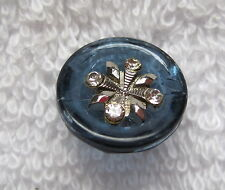 Vintage Smoky Blue Glass w Silver & Rhinestone Buttons Just over 1/2 inch