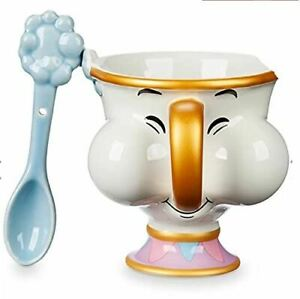 Disney Store Beauty and The Beast Chip Mug and Spoon (325ml 10.5ml x 10cm x 10cm
