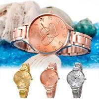 Fashion Women Heart Crystal Stainless Steel Analog Quartz Bracelet Wrist Watches