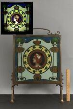 Antique 1890s Bronze Art Nouveau Fire Screen, UNIQUE Micro Glass Beads 2-Sided
