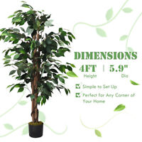 4 Feet Artificial Ficus Silk Tree Wood Trunks Christmas In/Outdoor Home Décor
