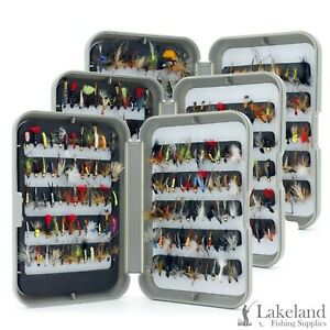G Fly Box + Mixed Trout Fishing Flies Wet Dry Nymph Buzzers Size 8 10 12 14 16