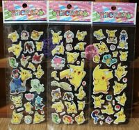 "Pokemon Anime Stickers 3 Sheet Lot 7"" Pikachu Squirtle Bulbasaur US Seller"