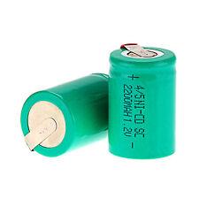 NUOVO VERDE 2 × pcs NiCd/NiMh 4/5 SubC SUB C 1.2v 2200mAh batteria ricaricabile