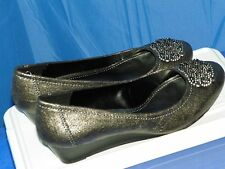 LAURA ASHLEY METALLIC SILVER SLIP ON WEDGE SIZE 9B NEW WITHOUT BOX