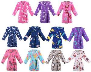 Kids Girl Boy Cute Soft Flannel Bathrobe Sleepwear Hooded Homewear Robe