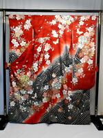 "Japanese kimono SILK""FURISODE"" long sleeves, Gold/Silver, Sign,SAKURA,L64""..1598"