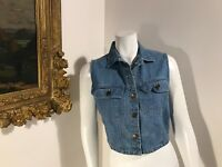 Willow Womens Denim Jacket B SZ Small Cropped Sleeveless Crop Vest