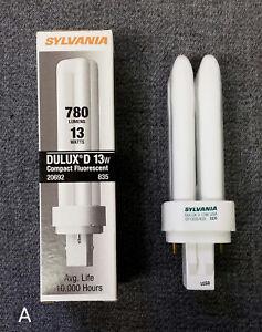 (2) NIB Sylvania Dulux D 13W 780 LM Compact Fluorescent Bulbs CF13DD/835 GX23-2