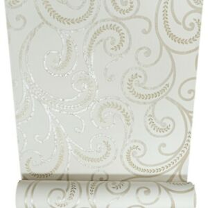 Rasch Cream Gold Textured Metallic Swirl Paisley Shimmer Metallic Wallpaper