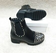 Ladies Spike Studded Black Ankle Boots Sizes 4,5