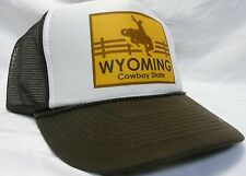 Wyoming the Cowboy State Trucker Hat mesh Hat Snap Back Hat brown adjustable