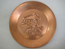 """BEAUTIFUL COPPER ART WALL HANGING PLATE BY MICHEAL BONNE, SIGNED, 9 1/2"""" DIA"""