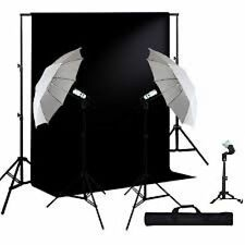 600 W continuous lighting kit with 7x10 backdrop stand and 6x9 Black backdrop