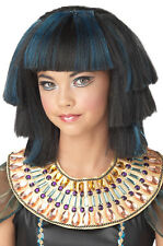 Egyptian Stepped Layers Cleopatra Princess Child Costume Wig -  Black & Blue