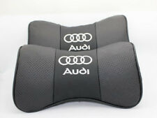 2x Black Auto Car Seat 100% Cowhide Neck Rest Belt Headrest Pads Protect for NEW