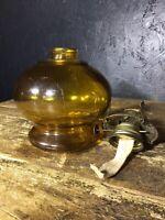 Antique Vintage Oil Lamp Amber Glass Base