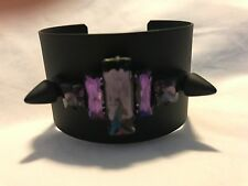 Noir Cuff Nightfall Bracelet PINK Black Plating Crystal Spike Punk Solid Brass