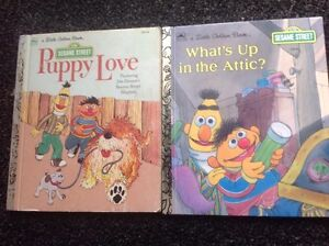 LITTLE GOLDEN BOOK PUPPY LOVE, WHAT'S UP IN THE ATTIC VINTAGE SESAME STREET