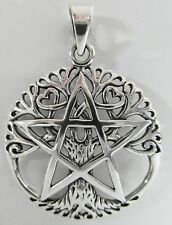 Sterling Silver (925)   Pentagram  In  Tree  Of  Life  Pendant  !!       New !!