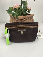 Michael Kors Fanny Pack Brown Nylon Gold Hardware Adjustable Waist Bag  A1