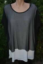 City Chic Layered TOP SIZE XL. Stylish Mesh Overlay NEW Black/Cream  Cap Sleeve