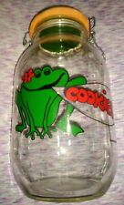 Vintage 1982 Large Frog Cookie Jar Clear Flip Lid Canister Container Collectible