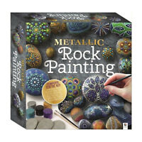 Childrens Craft Sets - METALLIC  Pebble Painting Kit - Pebbles Paint & Brush