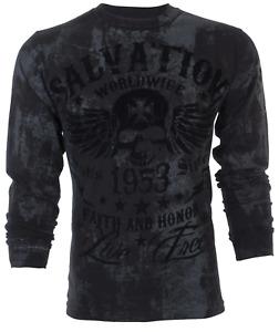 Archaic Affliction Men's Long Sleeve T-Shirt BLACK TIDE Black Biker S-3XL