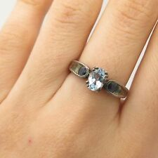 925 Sterling Silver Real Blue Topaz Sapphire Gemstone Ring Size 7
