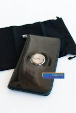 BNWT MIMCO $199 Travel Wallet Clutch Leather Black Gunmetal w/ Imperfection