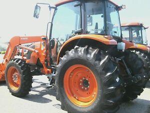 TWO 11.2x24, 11.2-24 KUBOTA M9540 8 ply R 1 Bar Lug Tractor Tires