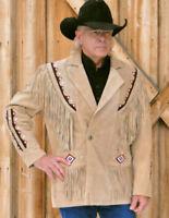 Herren Western Tragen Leichter Cognac Wildleder Franse und Perlen Blazer Jacke